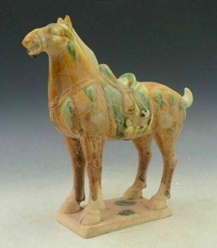 Chinese Old Tang San Cai Pottery Dynasty Palace Zodiac Animal Tang Horse Statue