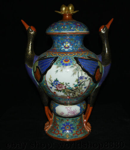 "19.6"" Marked China Qing Colour Enamels Porcelain Phoenix Birds Zun Bottle Vase"