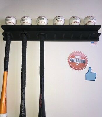 - BASEBALL BAT RACK 11 BAT 6 BALLS BLACK WALL HOLDER DISPLAY Wood