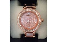 BRAND NEW Loverocks Pave Crystal Bezel Metal Strap Watch - Rose Gold