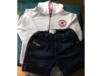 GIRLS DENIM DIESEL SHORTS - AGE 8 - EXCELLENT CONDITION PLUS FREE WHITE CONVERSE HOODY - AGE 8-10