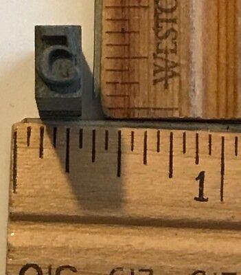 Vintage Antique Metal Printer Printing Press Block Tiny Number 5 7673