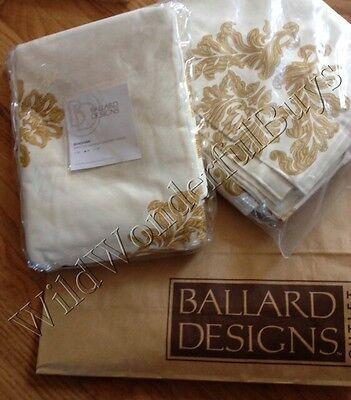 Ballard Designs Set 2 Bingham Drapes Tuscan Gold 96  Damask Print Curtains Pair