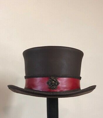 Steampunk Hat Pirate Skull Leather Standard Top Hat with Custom Color Band - Custom Pirate Hat