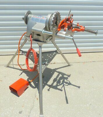 Ridgid 300-t2 Pipe Threader Threading Machine W Tristand Foot Pedal