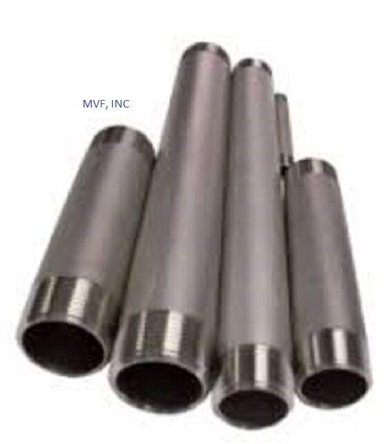 "1/8"" x 3"" Threaded NPT Pipe Nipple S/40 304 Stainless Steel TBE <SN2010411"