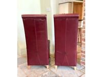 Leather dining chairs pair dark red