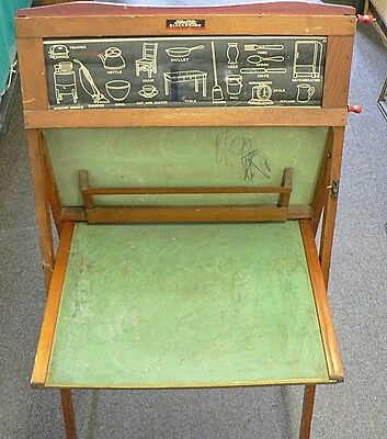 ANTIQUE LITHO PLATE SLATE BLACKBOARD WITH ROLLING PICTURES