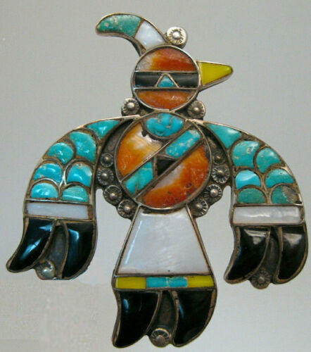 !Best! Zuni Early Iinlaid Thunderbird Knifewing Bird  Pin Channel & Mosaic Inlay
