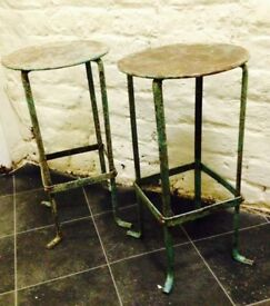 Distressed Metal Plant Stand Set – plant stools