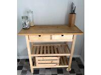 Ikea FORHOJA Wooden (Birch) Kitchen Trolley in excellent condition.