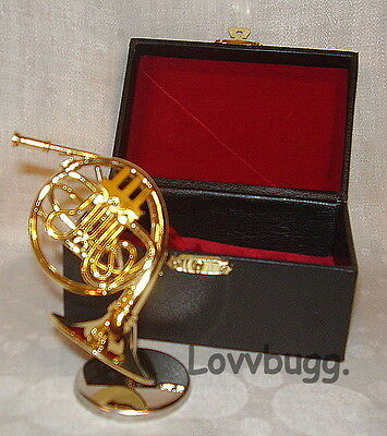 French Horn Mini with Stand and Case for American Girl Doll Music Instrument Accessory and MSD BJD