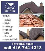 Flat Roofs, Shingles, Eavestrough, Cedar Roofs- New or Repair
