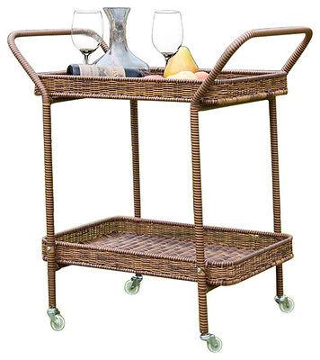 Resin Outdoor Patio Serving Cart (Jeco Wicker Resin Patio Outdoor All Weather Serving Cart in Honey )