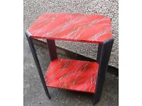 Unique Side Table Art Deco Red Black Hand Painted Faux Marble Effect Mid Century Furniture