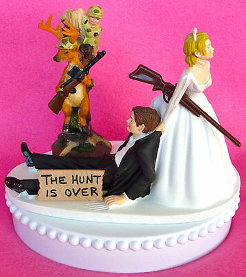 Wedding Cake Topper Hunt is Over Themed Bride and Groom Groom
