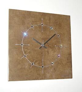 Wohnzimmer Uhr Funk oder ohne Ticken Swarovski Elements Wanduhr 33x33 Keramik*