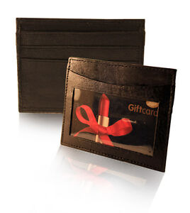 Mens Soft Leather Credit Card Holder Wallet With space for 3 Cards & ID card