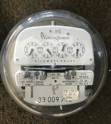 Vintage Westinghouse Electric Meter-240 Volts 100 Amp 3-wire 2p2g4 Ds 1954 P