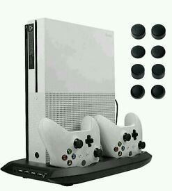 Lictin Xbox One S Vertical Stand Cooling Fan with Dual Charging Station