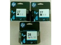 HP 27 and 28 inkjet cartridges
