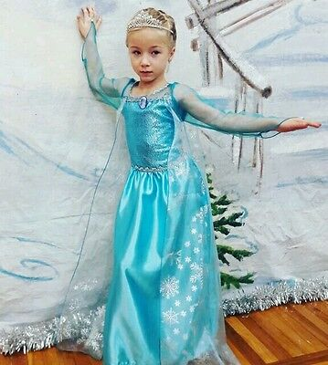 * Frozen Elsa Girls Fancy Dress - Princess Birthday Party Costume Baby Gown 1-8Y