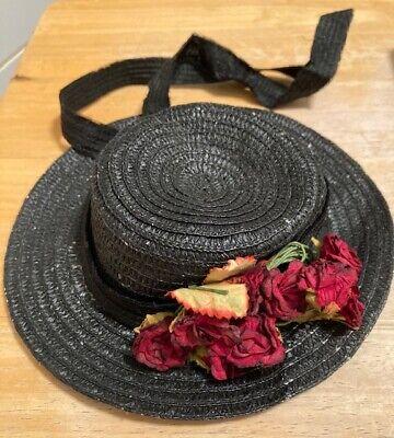 Repro - Antique STRAW HAT/BONNET- SILK ROSES - FITS 18''-21'' DOLL ADORABLE