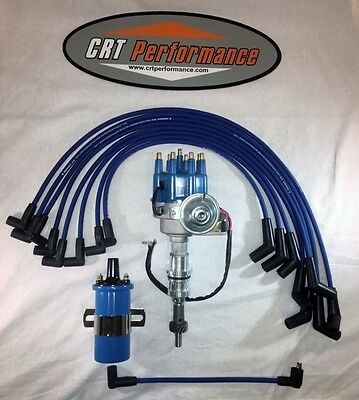 SMALL BLOCK FORD 289-302 BLUE Small HEI Distributor,45K COIL +  PLUG WIRES USA