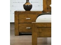 Miami Nightstand Solid Rubber-wood Rustic Oak Bedside BRAND NEW