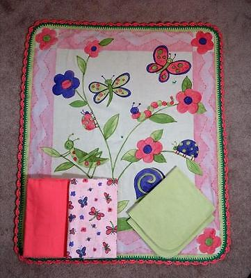 - NURSERY CRIB QUILT/SHEET SET- BUTTERFLIES & DRAGONFLIES - PEACH & LIME COLORS