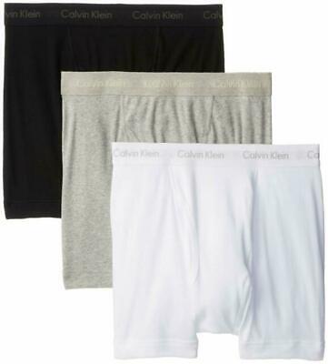 CALVIN KLEIN MEN'S 3 PACK CLASSIC BOXER BRIEFS WHITE BLACK GRAY S M L XL NEW NWT