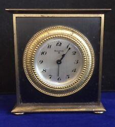 Antique BULOVA brass desk / shelf  /alarm clock .Slight fixer
