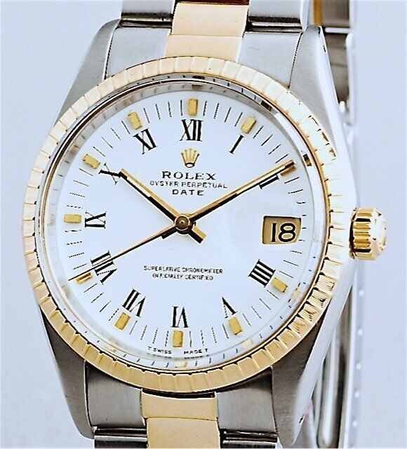 Mens Rolex Date 2tone 18k Gold & Steel Watch Oyster Band White Roman Dial 15223