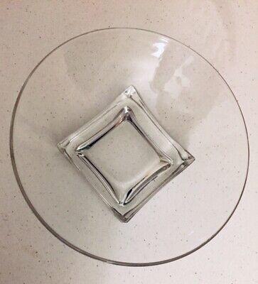Mid Century Modern Cambridge Cube / Square Base Glass Bowl Eames Era