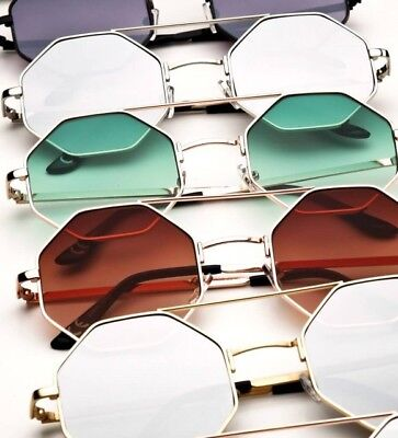 Womens Octagon Sunglasses Metal Frame Retro Mirror colour Lens Gold](Octagon Mirrors)
