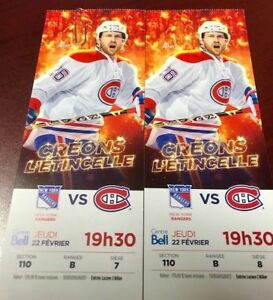 Canadiens vs Rangers February 22nd Section 110 row B RED