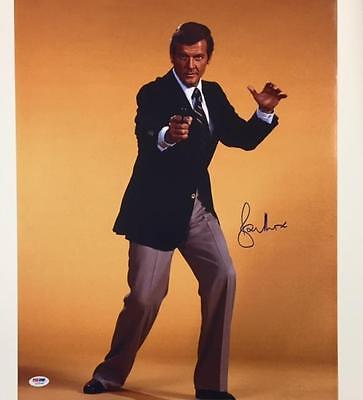 Sir Roger Moore Signed 007 James Bond 16X20 Photo  1 Psa Dna Coa Autograph Auto