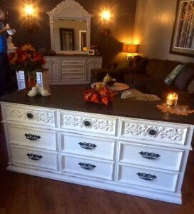 Distressed Malcolm White and Ebony Scrolled 9-Drawer Sideboard
