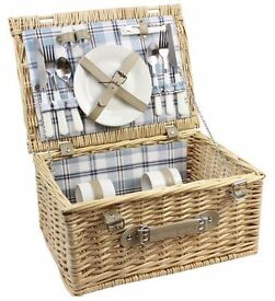 Wicker Picnic Basket Willow Hamper With Cutlery, Cups & Plates for Two - Brand New !!
