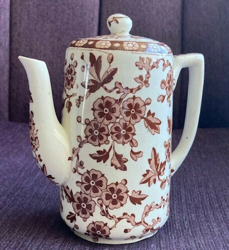 Ridgways HAWTHORNDEN Teapot, Brown & White Flowers  1880s