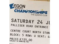 2 Semi final tickets for Queens club Aegon Championships