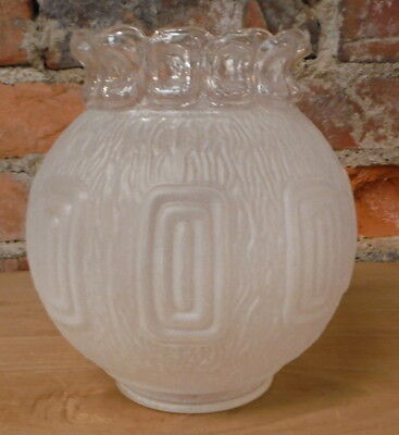 Vintage Art Deco Frosted Glass Light Globe Raised Relief Shade Textured Clear
