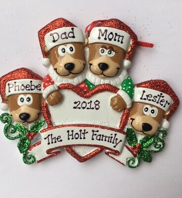Personalized Brown Bear Family of Four BFFs Coworkers  Christmas Ornament Gift ()