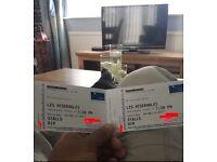 2x les miserables march 4th 2017 (stalls row D seats 18 19)