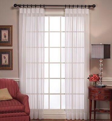 Pleated Sheer Curtains (Emelia Sheer Pinch-Pleated Drapes White or Ecru {Brand)