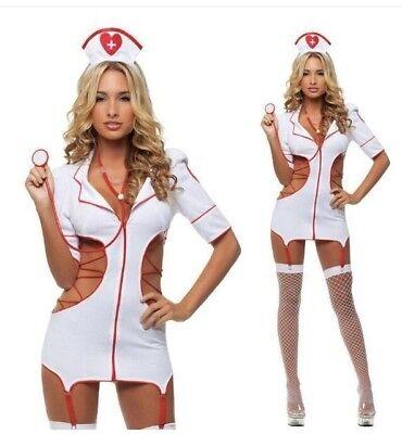 Sexy Damen Krankenschwester Set Dessous weiß rot  Kostüm 3 teiliges S - Sexy Krankenschwestern Kostüm