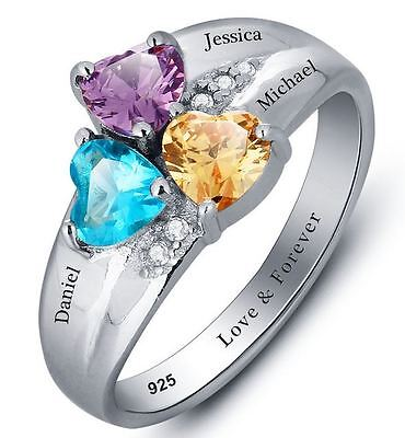 Personalized Sterling Silver 3 Heart Birthstone & 3 Name Mothers Family Ring ()