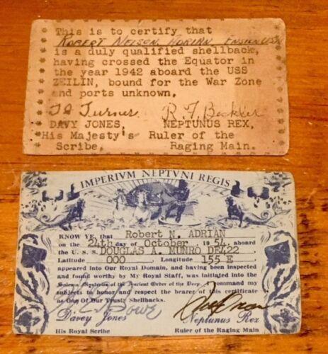 US Navy - Crossing the Equator Membership Cards, US Naval Academy Graduate