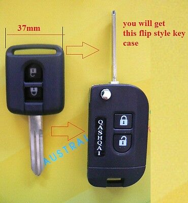 Nissan 2 Buttons Remote Flip key case shell replacement for MICRA D40