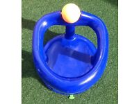 Swivel bath seat for baby - blue with orange play ball